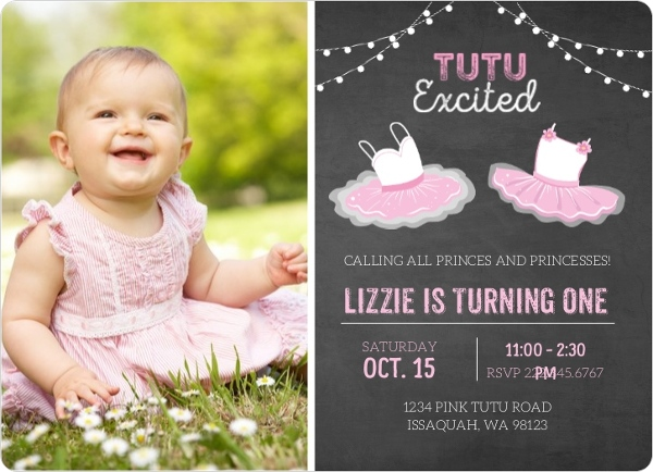 Royal Purple Princess Photo First Birthday Invitation – Pink 1st Birthday Invitations
