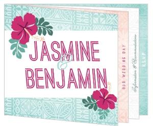 Hawaiian Floral Wedding Booklet Invitation