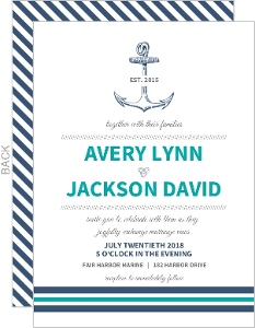 Teal Navy Nautical Anchor Wedding Invitation Wedding Invitations