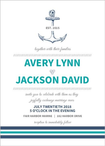 teal navy nautical anchor wedding invitation - Anchor Wedding Invitations