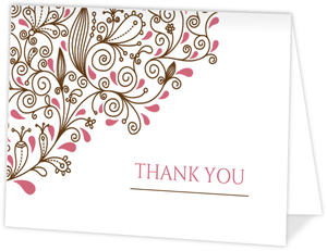 Pink Floral Anniversary Thank You Card