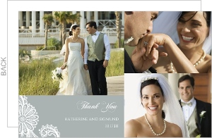 Elegant Gray White Lace Wedding Thank You Card