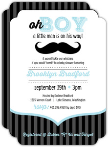Blue and Black Moustache Boy Baby Shower Invites