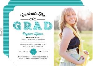 Turquoise Modern Typography Graduation Invitation