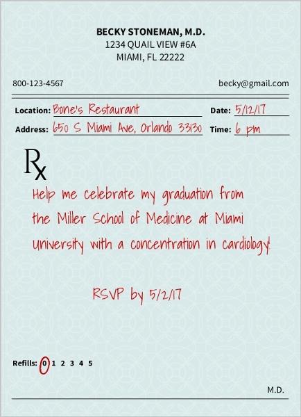 Prescription Pad Medical School Graduation Invitation   Graduation ...