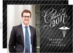 Chalkboard Elegant Medical Graduation Invitation