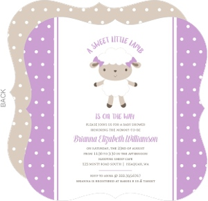 Purple Sheep Polkadot Baby Shower Invitation