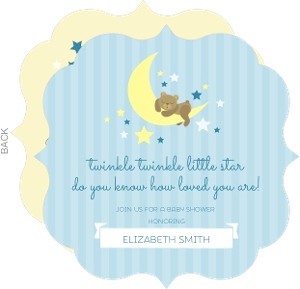 Blue Twinkling Little Stars Baby Shower Invitation