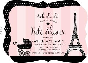 paris carriage baby shower invitation
