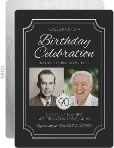 Faux Silver Foil 90th Birthday Invitation