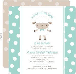 Polkadot Sheep Baby Shower Invitation  Cheap Baby Shower Invitations