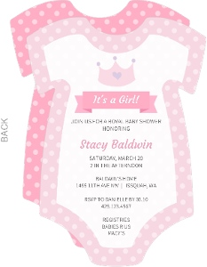 Charming Pink Onesie Girl Baby Shower Invitation
