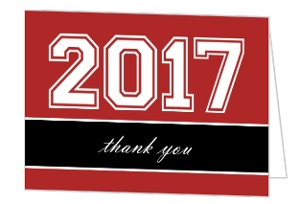 Red and Black Graduation Year Thank You Card
