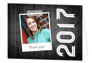 Gray Wood With Graduation Year Thank You Card