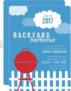 Blue Backyard BBQ Graduation Invitation