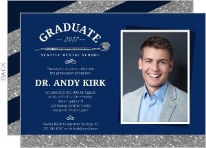 Faux Silver Glitter Dentist Graduation Invitation