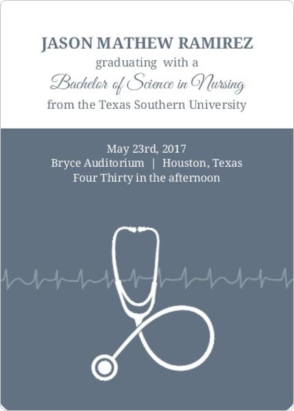 Grey Stethoscope Nursing School Graduation Announcement – Nursing School Graduation Invitations