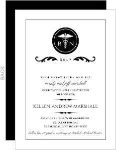 Elegant Black Monogram Nursing Graduation Announcement