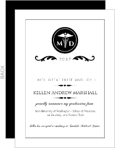 Elegant Black Monogram Med School Grad Announcement