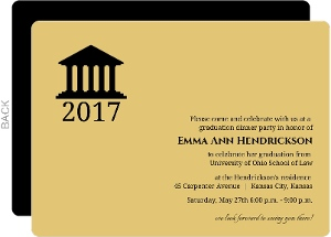 Gold Law School Grad Invitation