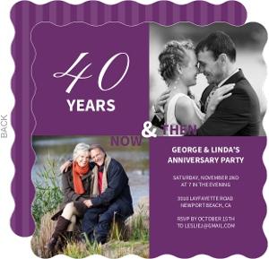 40th Anniversary Purple Modern Photo Squares Anniversary Party Invitation