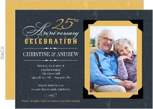 Vintage Yellow Frame 25th Anniversary Invitation