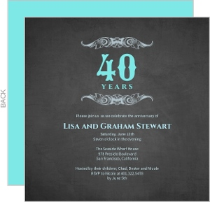 40th Gray and Teal Anniversary Invitation