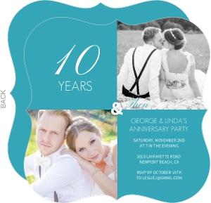 Blue Modern Squares 10th Anniversary Invitation