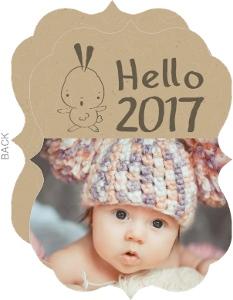 Hello New Year Baby Photo Card