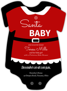 Cute Santa Christmas Onesie Baby Shower Invitation