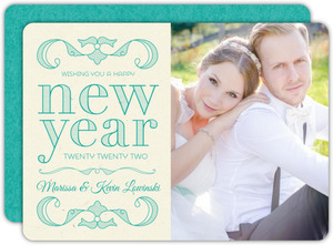 Turquoise Vintage New Years Photo Card