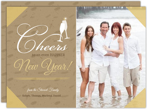 Cheers Vintage Kraft New Years Photo Card