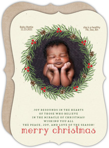 Cute Pine Wreath Baby Holiday Card
