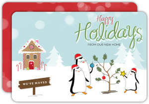 Penguin Happy Holidays Moving Announcement Card