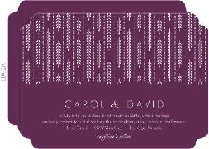 Purple Willow Leaf Pattern Wedding Invitation