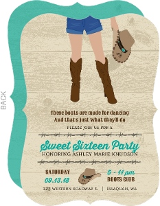 Rustic Western Boots Sweet 16 Birthday Invitation