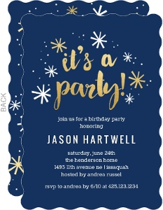 Navy and Faux Gold Confetti Birthday Party Invitation