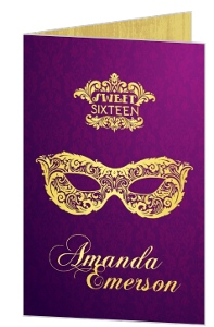 Elegant Masquerade Sweet Sixteen Birthday Invitation