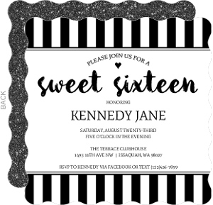 Sophisticated Black & White Sixteen Birthday Invitation