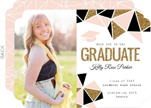 Glamorous Faux Glitter Cap Graduation Announcement