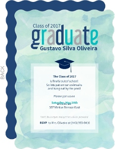 Watercolor Graduation Pool Party Invitation