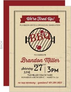 Rustic Grill Graduation BBQ Invitation
