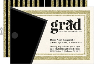 Classic Faux Glitter Frame Graduation Invitation Card