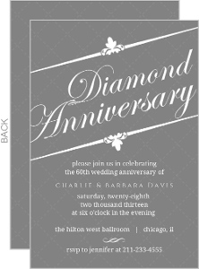 Formal Gray White Diamond Anniversary Invitation