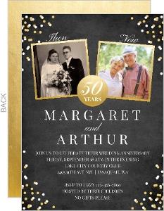Modern Lemon and Asphalt Wedding Anniversary Invitation
