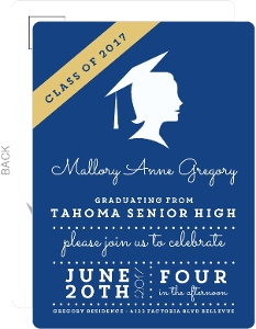 Vintage Silhouette Graduation Postcard Invitation
