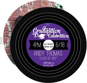 Vintage Music Record Graduation Invitation