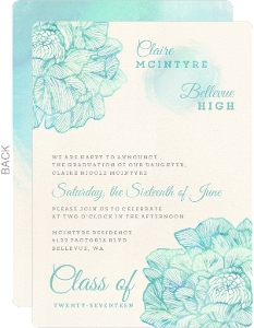 Elegant Aqua Graduation Invitation