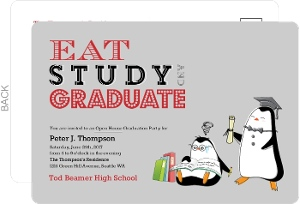 Eat Study Graduate Penguin Graduation Invitation