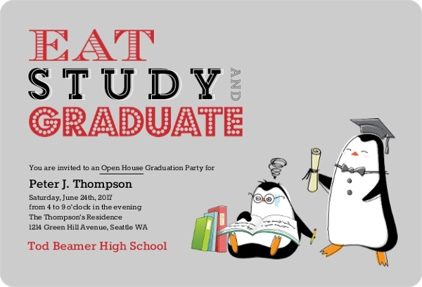 Eat Study Graduate Penguin Graduation Invitation – Funny Graduation Invitation